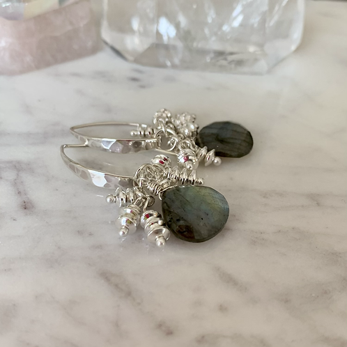 Hammered Silver Labradorite Drizzles