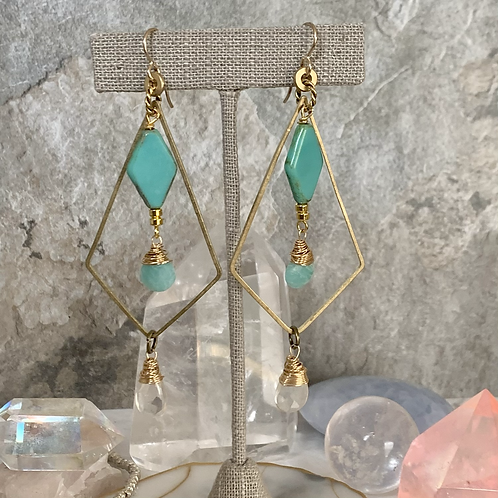 Aqua Czech Diamond Brass Doubles