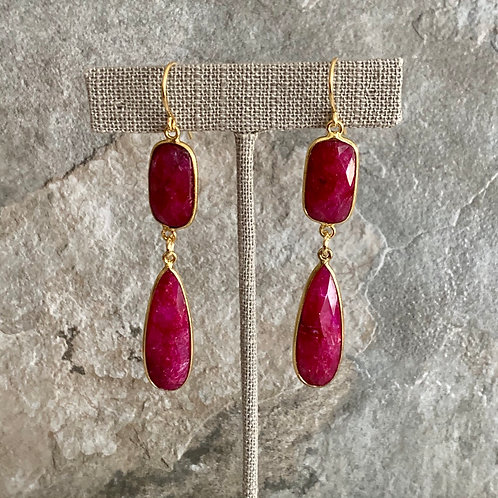 Golden Ruby Rectangle Drops