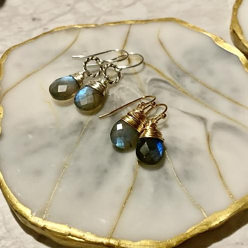 Silver & Gold Labradorite Drop Set