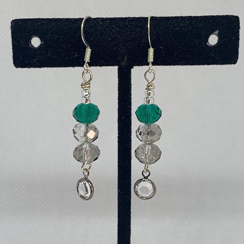 Emerald & Grey Dangle