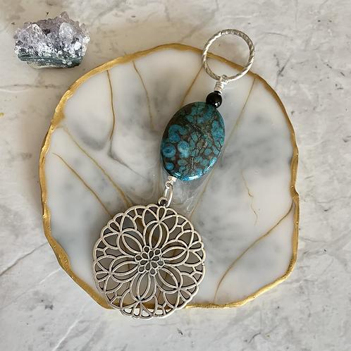 Long Tombolo Turquoise Silver Pendant