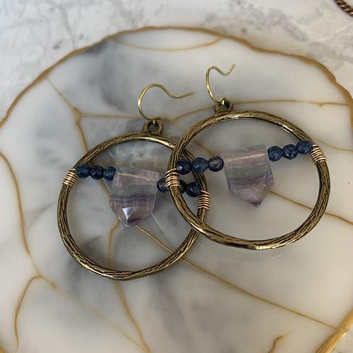 Fluorite & Sapphire Hoops