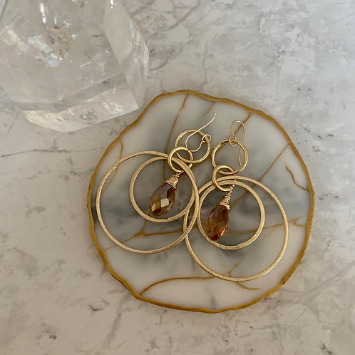 Cherry Blossom Gold Hoops