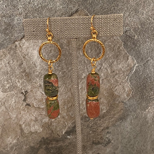 Natural Unakite Gold Mini Hoops