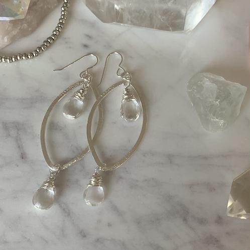 Silver Marquise Double Quartz