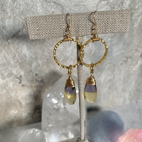 Gold Ametrine Hoops