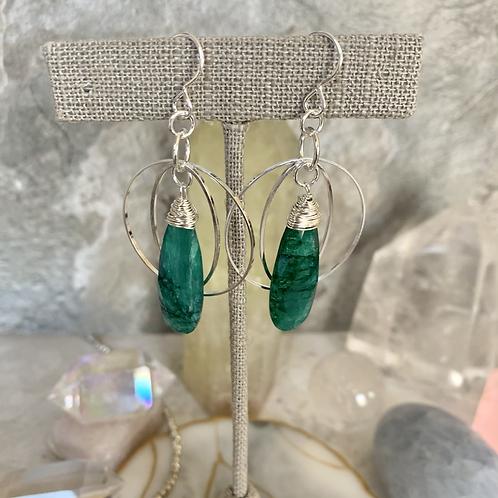 Emerald lightweight Silver Hoops