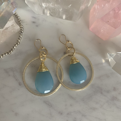 Gold Blue Chalcedony Dream Hoops