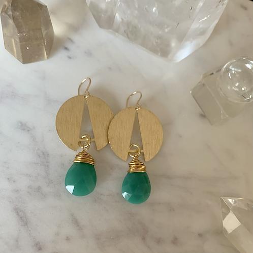 Bright Brass & Green Chalcedony