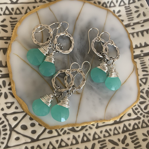 Silver Wrapped Aqua Chalcedony Drops