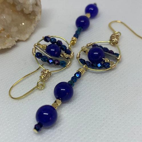 Metallic Blue Iris Gold Twist