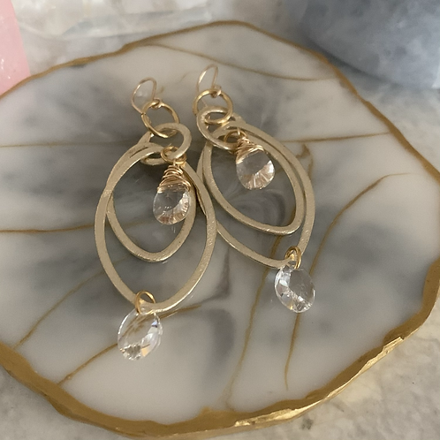 Double Crystal Brushed Gold Ovals