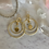 Thumbnail: Brushed Gold Double Hoops & Amethyst