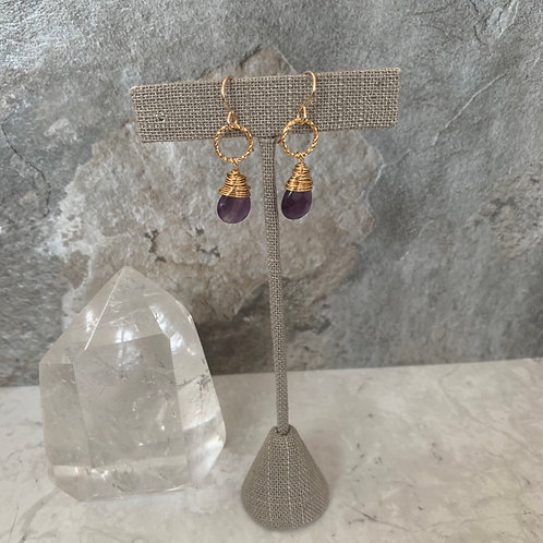 Golden Wrapped Amethyst Drops