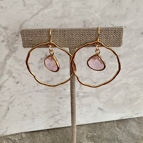 Pink Fling Gold Hoops