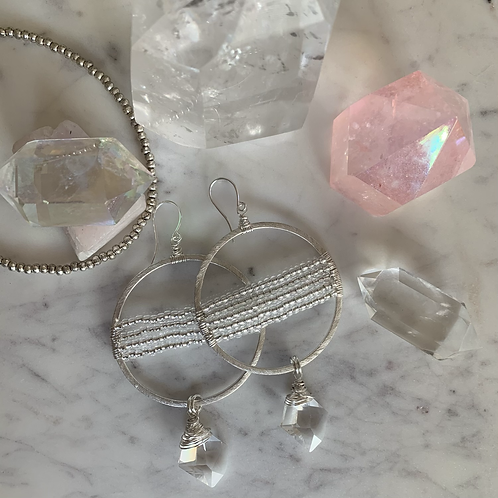 Dreamy Crystal Silver Lined Hoops