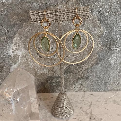 Double Gold Hoop & Green Amethyst