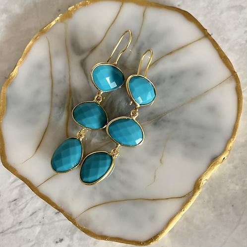 Golden 3-Tier Turquoise Dangles