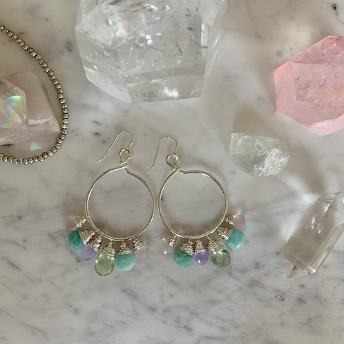 Silver Wrapped Gem Hoops