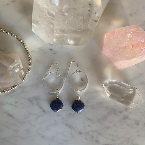 Little Lapis Lazuli Drop Hoops