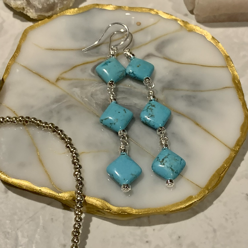 Turquoise Diamond Dangles