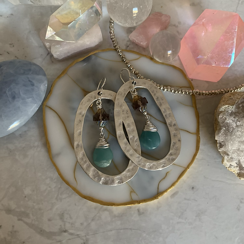 Large Silver Amazonite Hammered Ovals