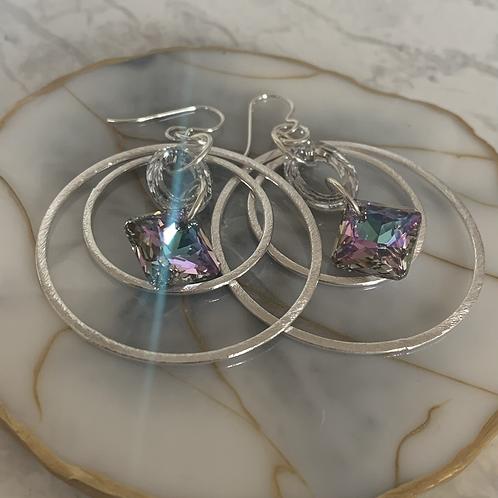 Cosmic Princess Silver Galaxy Hoops