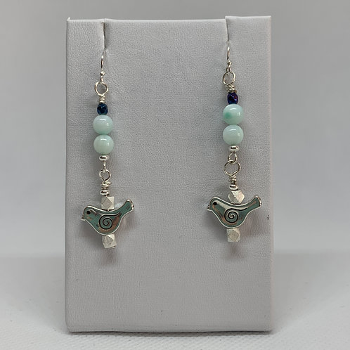 Mint Green Mother Of Pearl with Silver Birds