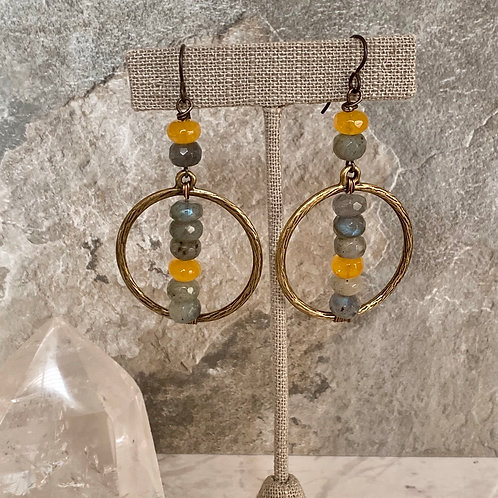 Labradorite Quartz Brass Hoops