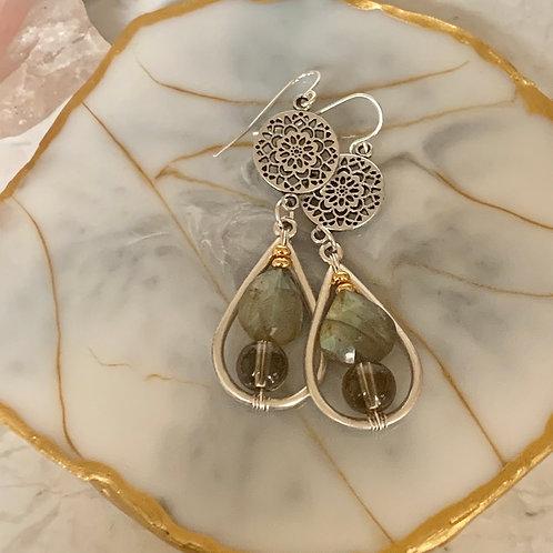 Silver Dahlia Labradorite Drops