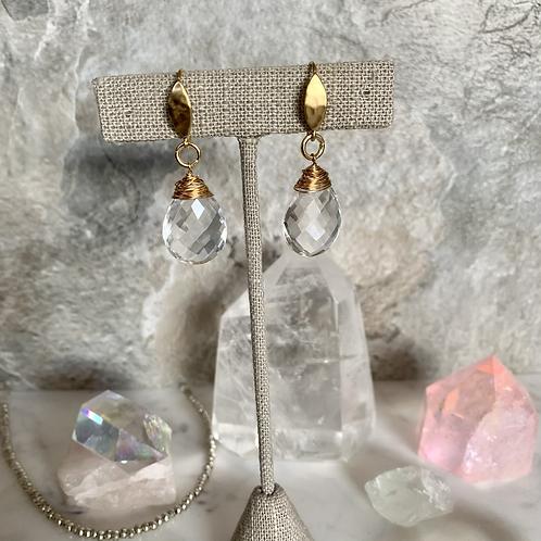 Hammered Gold Large Quartz Crystal Drops