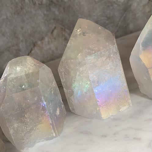 Angel Aura Crystal Point with Raw Cut Base
