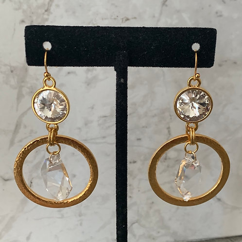 Hammered Gold Double Crystal