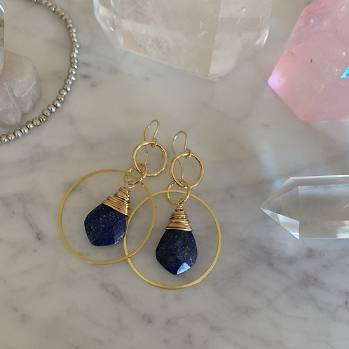 Golden Wrapped Lapis Lazuli Hoops