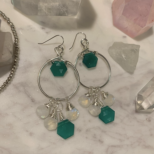 Green Onyx & Moonstone Silver Royalty