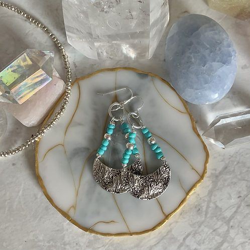 Silver Floral Turquoise