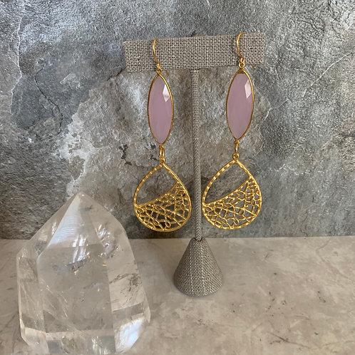 Long Rose Quartz & Golden Weave
