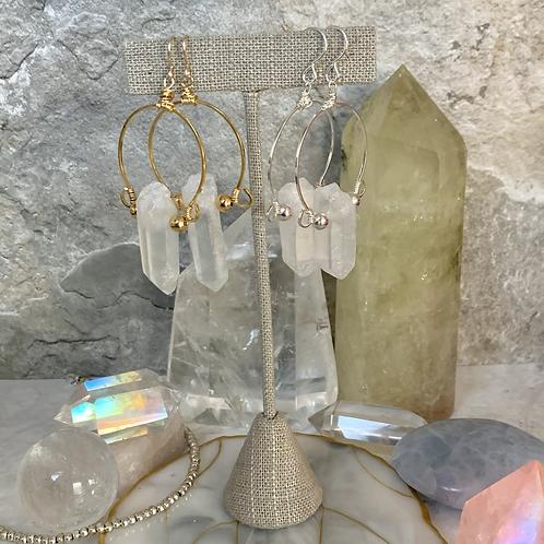Gold & Silver Angel Crystal Hoops