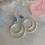 Thumbnail: Blue Chalcedony Brushed Silver Hoops