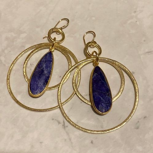 Gold Sapphire Hoops