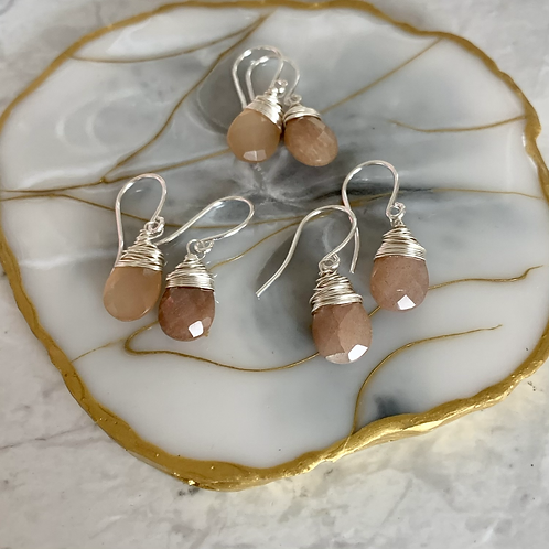 Peach Moonstone Tiny Drops