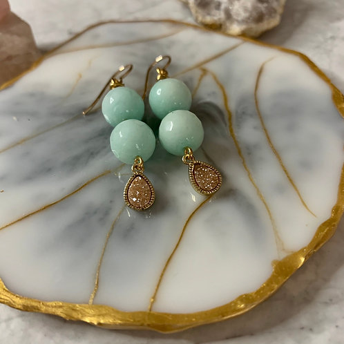 Sea Spray Jade & Gold Peach Druzy