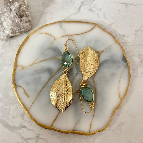 Golden Green Apatite Leaf