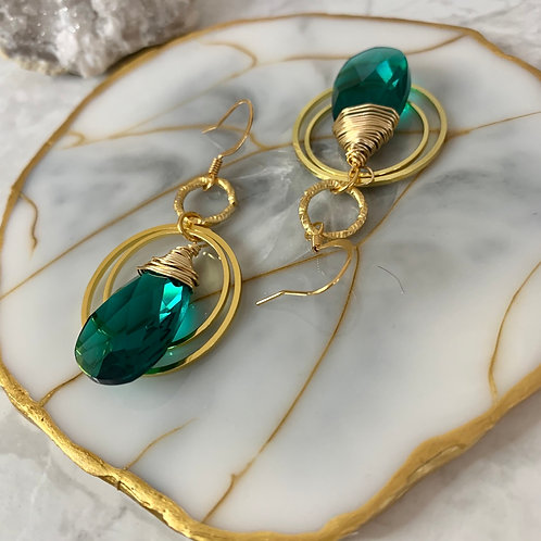 Swarovski Emerald Gold Hoops