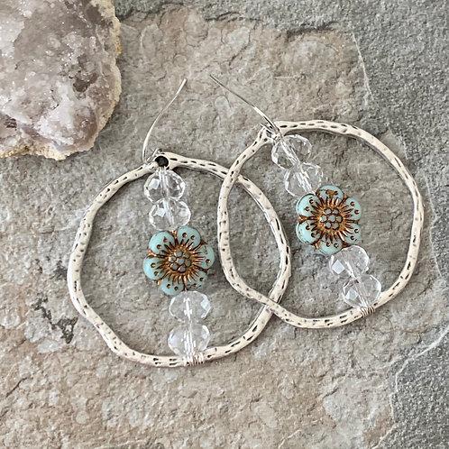 Swarovski Crystal Flower Hoops