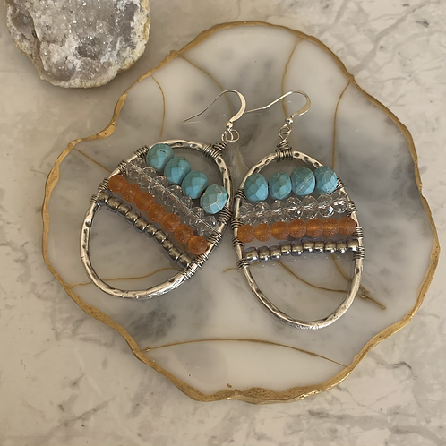 Turquoise Crystal with Tangerine
