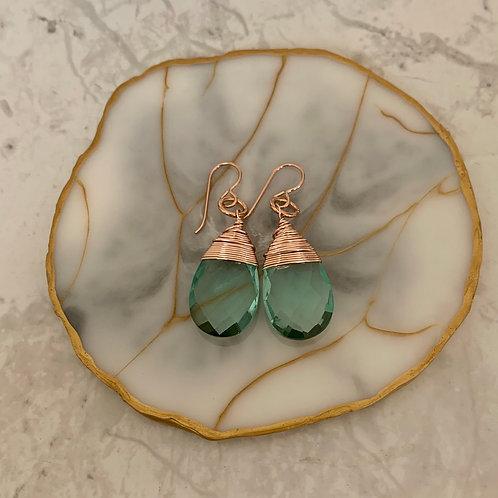 Rose Gold Aquamarine Drop