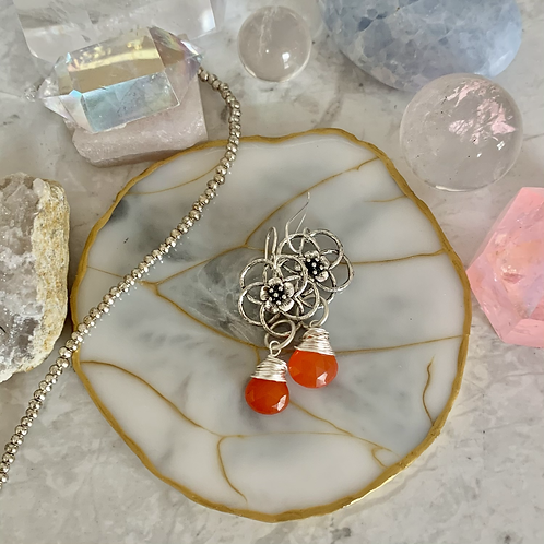 Tropical Orange Flower Chalcedony Drops