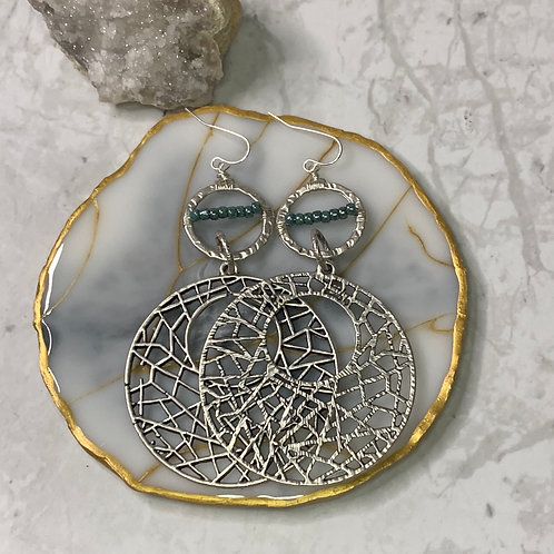 Antique Silver Carved Hoops